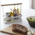 Per La Casa minimalista Manico In Legno Bianco Cestino di Immagazzinaggio Della Cucina Bottiglia di Condimento Cesto di Finitura
