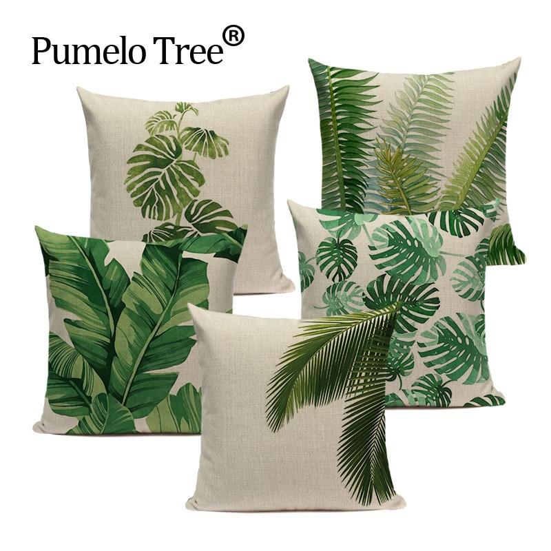 Tropical Banana Leaves Cushion Cover Palm Leaf Pillow