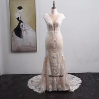 Newest Vintage Lace Wedding Dress 2018 Button Back Appliqued Sweep Train Sheath Wedding Gowns