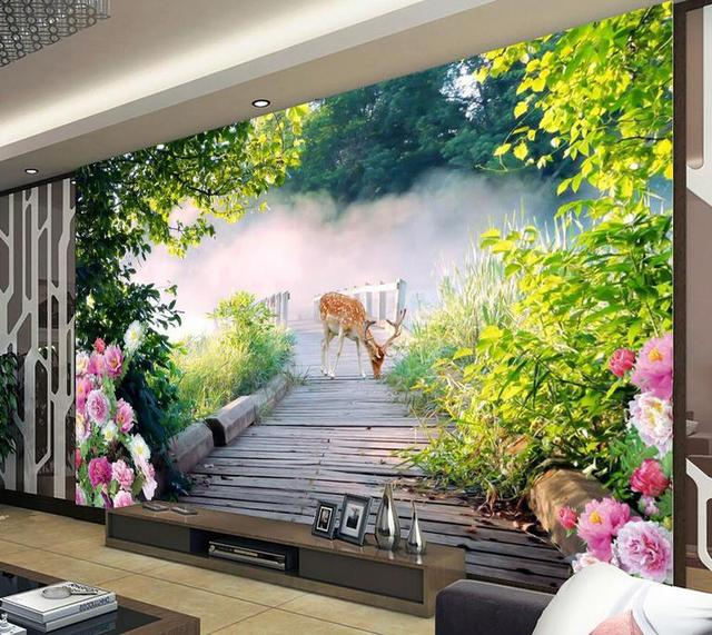Wall Murals Wallpaper Customized Hd Forest For Walls 3 D Kitchen Landscape Backdrop Mural