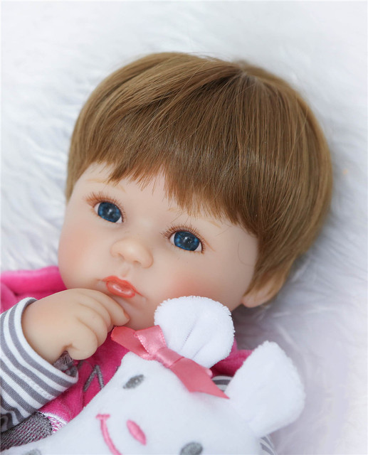 Soft Silicone Vinyl Dolls 42cm Doll Reborn Baby Brown Wig Girl Handmade Cotton Body Lifelike Bebe juguetes Babies Toys bonecas