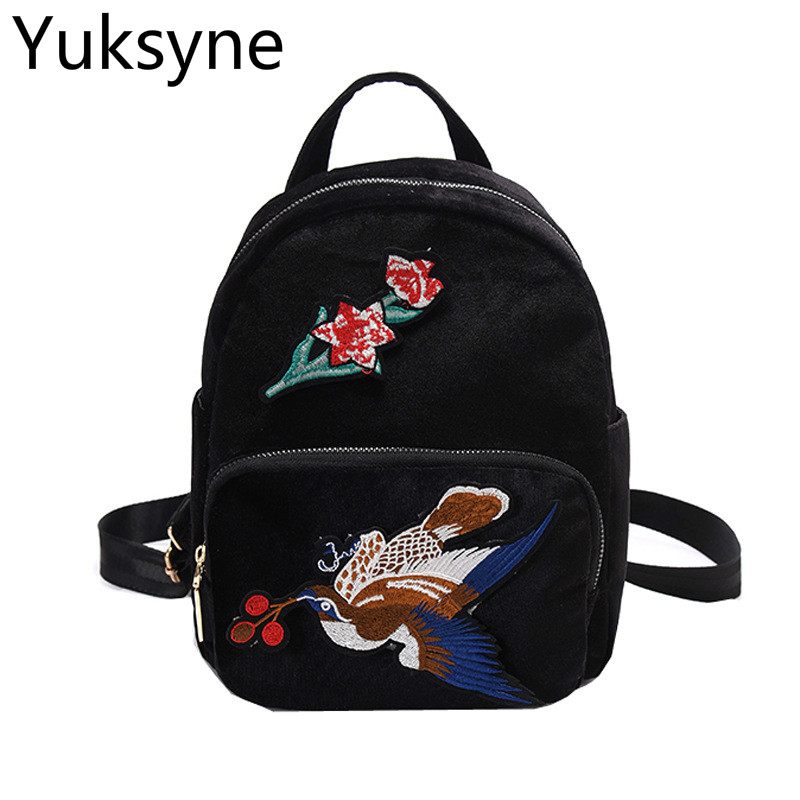 Vintage Embroidry Bird Women Backpack Casual School Backpack Velour Fabric Bag Pack Travel Bag for Teenagers