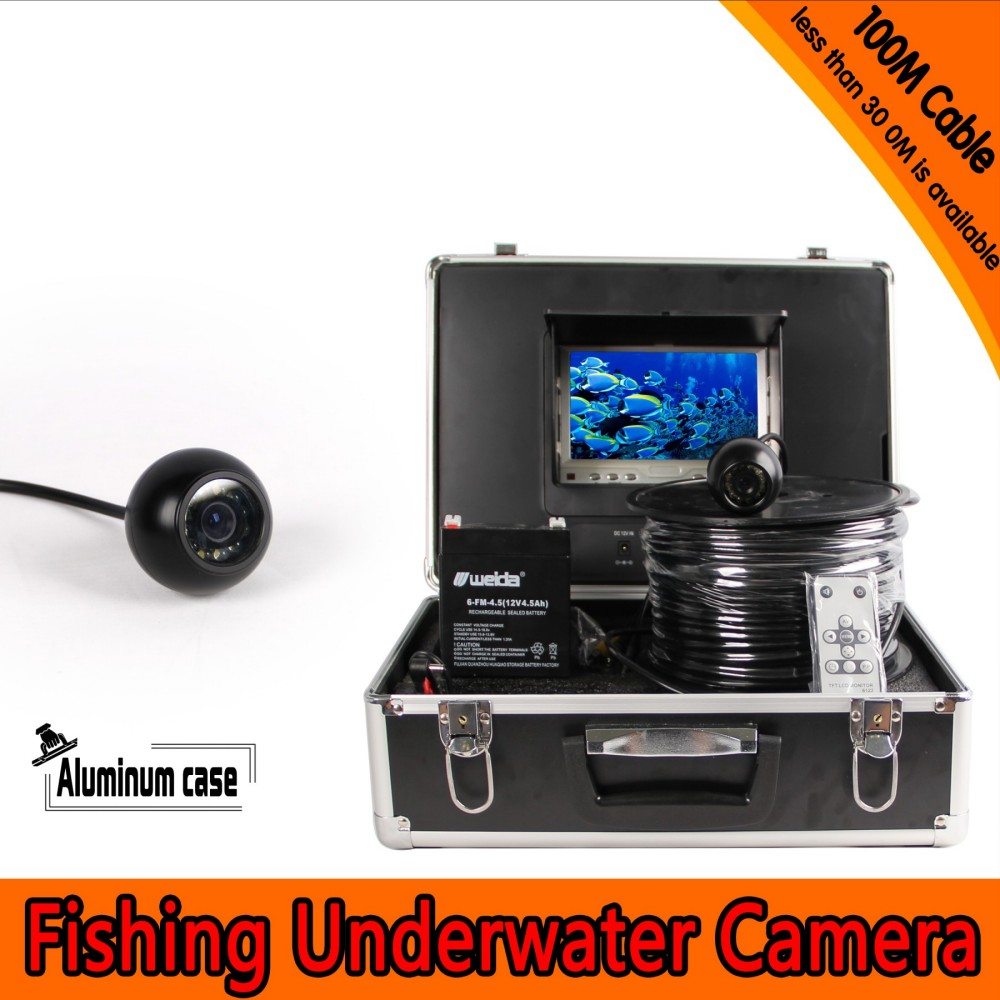 Dome Shape Underwater <font><b>Fishing</b></font> <font><b>Camera</b></font> Kit with 100Meters Depth Cable & 7Inch TFT LCD Monitor with OSD Menu & Hard Plastics Case