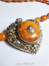 TBP765 Тибетский белого металла Медь серебро поддельные Amber большое сердце цветок кулон непальская ювелирные изделия ручной работы, старинные новинка