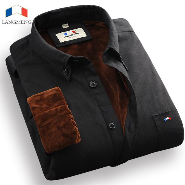 Langmeng camisa de vestir de los hombres calientes del invierno de terciopelo de algodón casual camisas oxford camisa masculina hombres ropa blanco negro sólido camisas