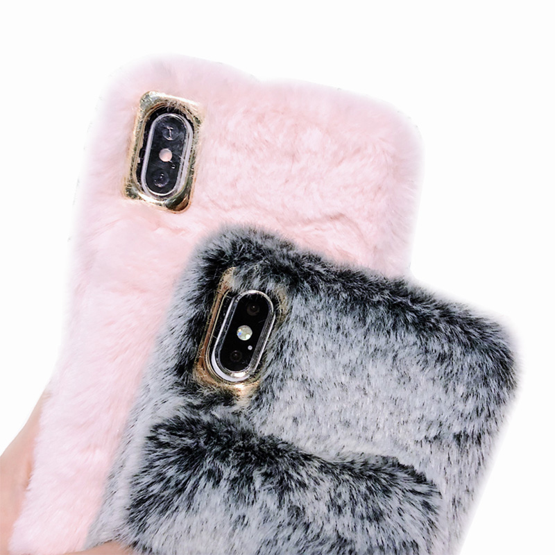 KIPX1036_9_For iPhone 7 8 Hairy Warm Phone Cover for iPhone XS XR 5S SE 6S 7P 8 Plus Plush Hand Warmer Soft Case