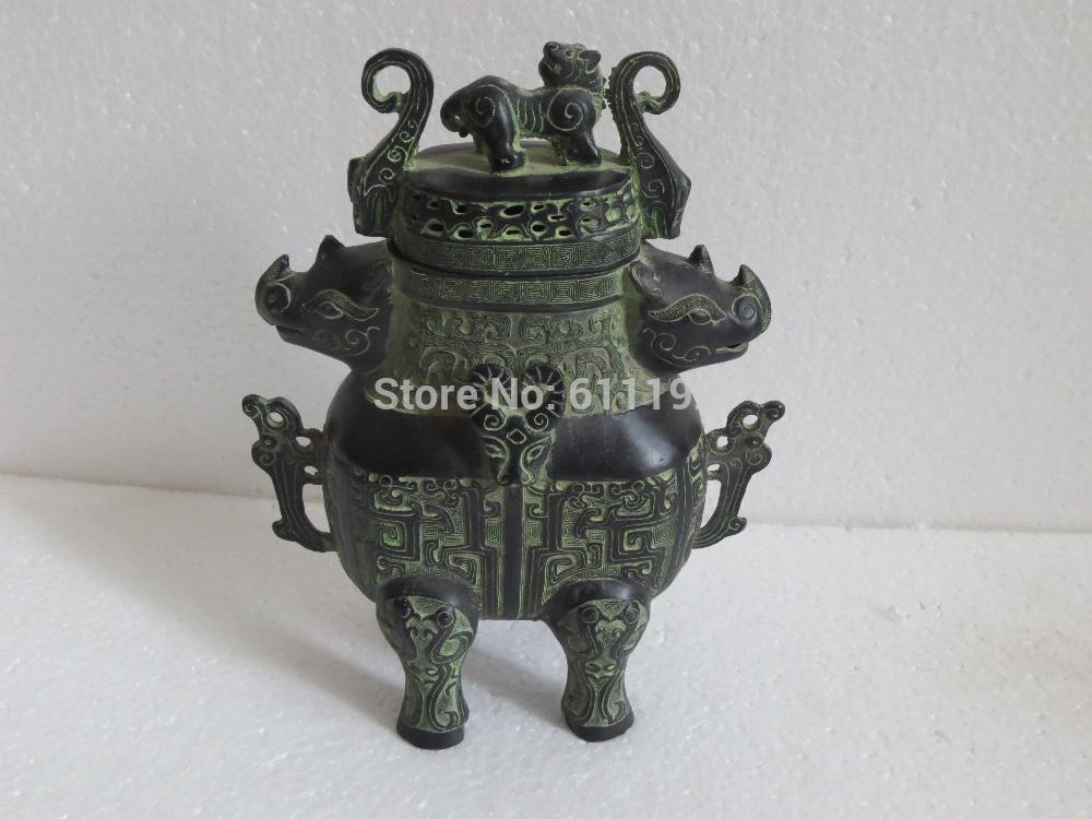 Home Decor Chinese antique old bronze big size incense burner statue Metal crafts