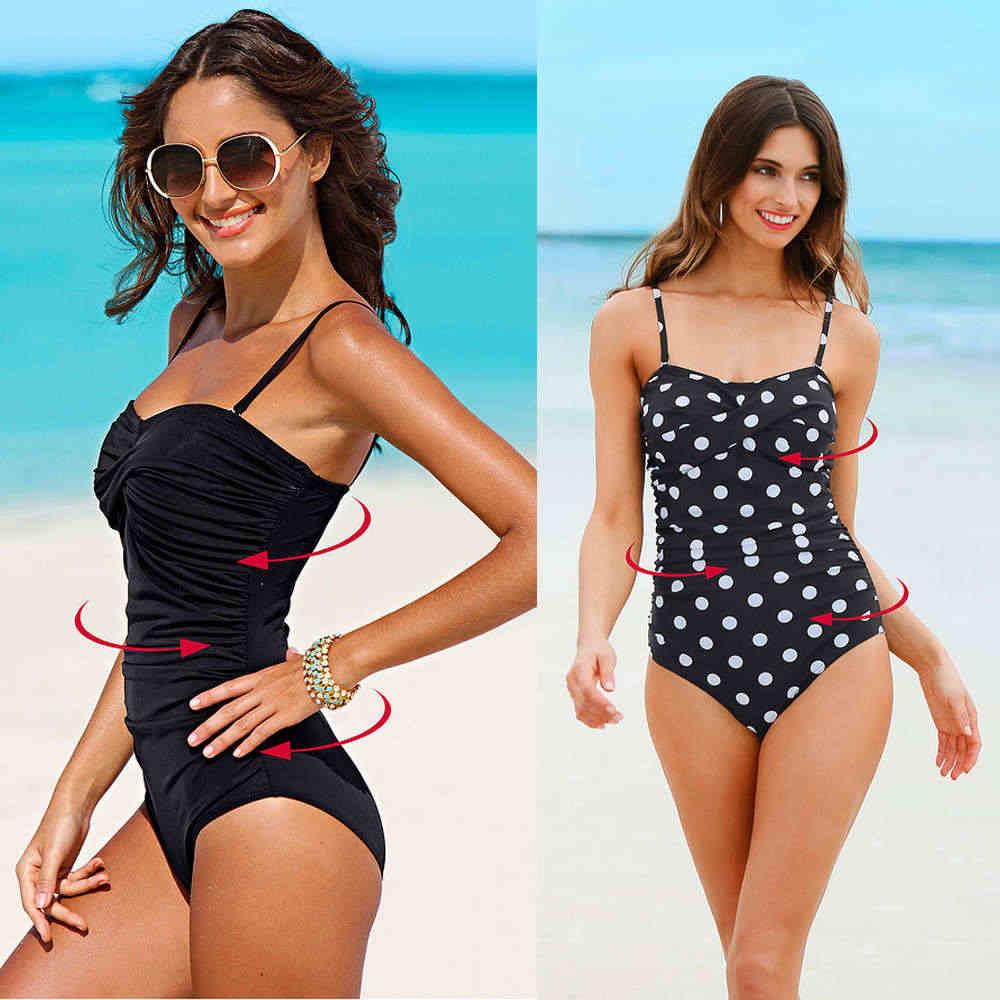 One Piece Swimsuit 2020 Baru Plus Ukuran Baju Renang Wanita Cetak Solid Baju Renang Vintage Retro Pakaian Renang Monokini Swimsuit 4XL
