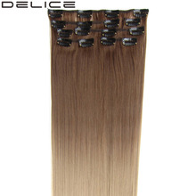 [DELICE] 7pcs/set 24 Inches Silky Straight Synthetic Clip-in Full Head Ombre Hair Extensions 100g