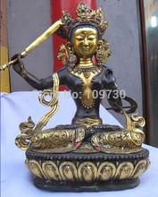 "003322 15 ""Tíbet Clásica Bronce Gild Kwan-yin Manjusri Bodhisattva estatua de Buda"