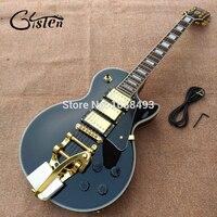 Livraison gratuite Personnalisé paul Noir 3 micros Matériel D'or LP guitare électrique avec bigsby