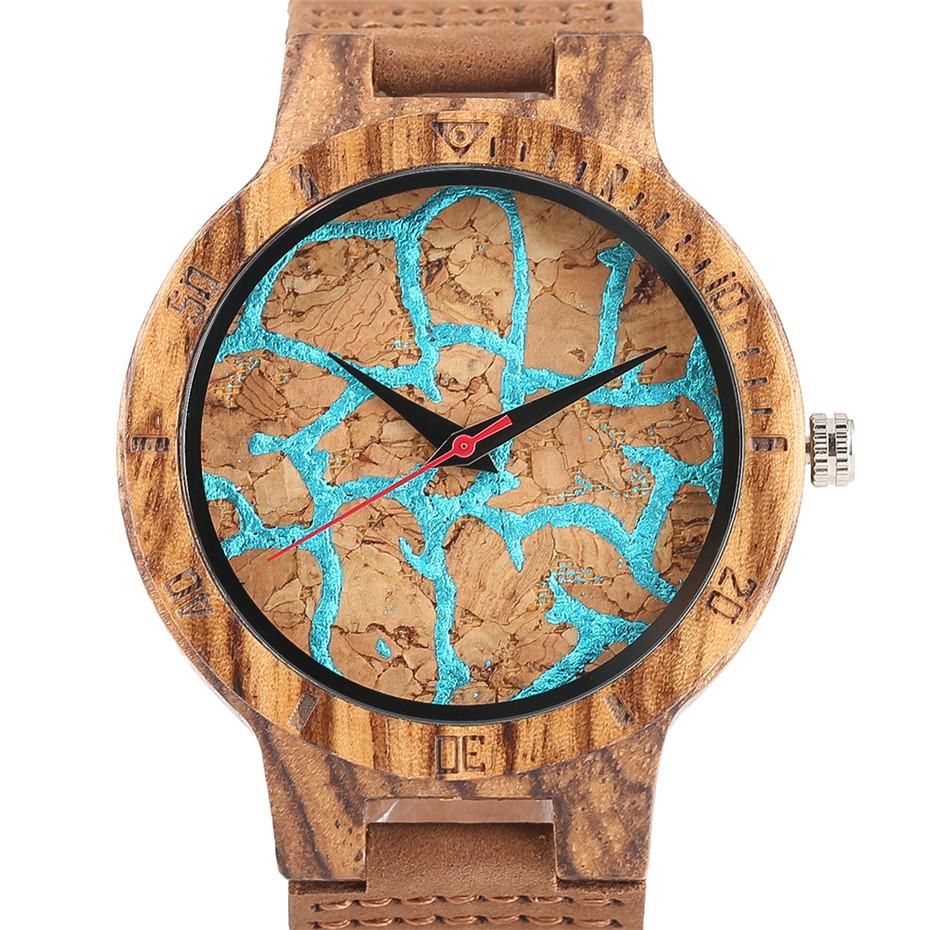 Creative Shiny Weave Bamboo Wood Watch Nature Analog Quartz Cool Men Wristwatch Women Leather Strap Bracelet Handmade Clock Gift Fashion (30)