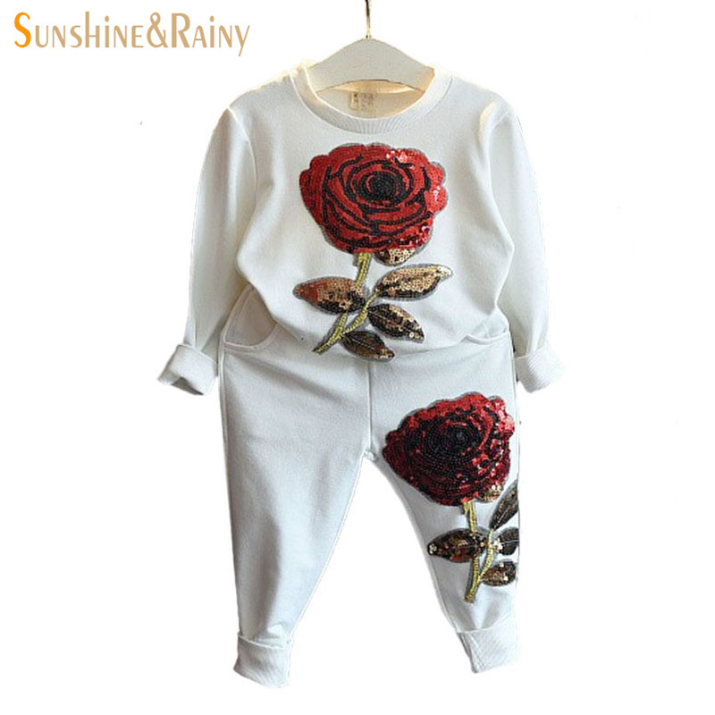 Spring/Autumn Sequin Rose Girls Clothes Sets Kids Sport Suit For Girl Baby Long Sleeve Embroidered Flower Children Clothing Set autumn winter girls children sets clothing long sleeve o neck pullover cartoon dog sweater short pant suit sets for cute girls