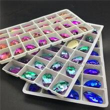 TopStone Mix вулкан каплевидные пришивные стразы с плоским основанием 2 отверстия стеклянные капли для шитья хрустальные бусины 7x12,11x18,13x22,17x28 мм
