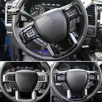 ABS Steering wheel trim cover For Ford F150 Glossy Black 2015-2018 1pcs car styling