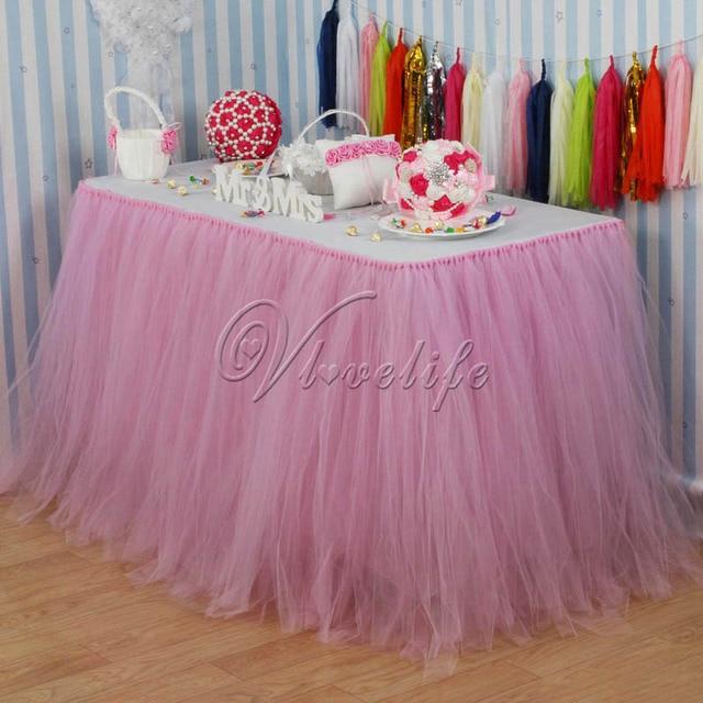 10pcs Light Pink Tulle Tutu Table Skirt Custom Wonderland Skirting Wedding Birthday Baby Shower