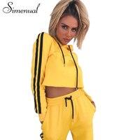 Simenual Athleisure Sportswear Tracksuit For Women 2017 Autumn Cropped Hoody Sweatpant Yellow 2 Piece Set Fashion