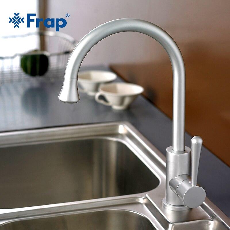 Frap classique cuisine mélangeur espace aluminium anodisation robinet de bassin pivotant 360 degrés rotation F4152