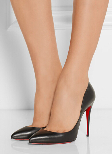 Brand new Red bottom women shoes Pigalle Follies 100mm black genuine  leather pumps Pointed Toe woman pumps dress wedding shoes 8608757bd5dc
