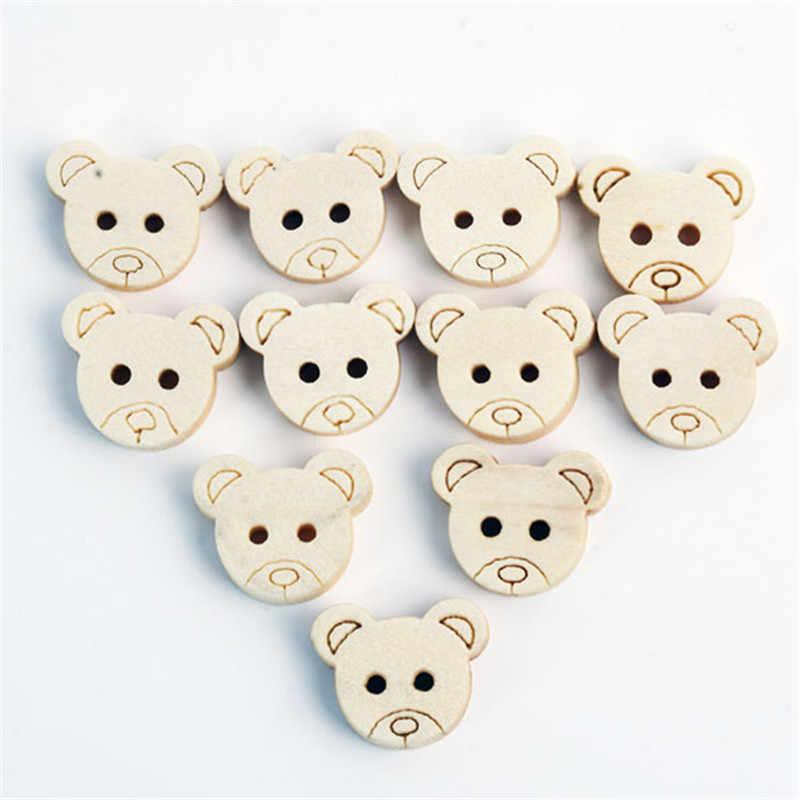 100 sztuk/paczka Home Decor Little Teddy głowa misia drewniane guziki DIY Craft szycia księga gości detal DIY Decoraiton akcesoria