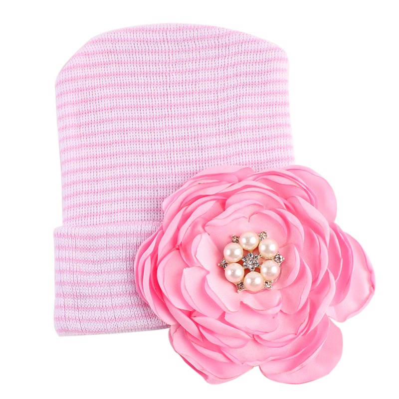 Cute Cap Newborn Baby Hat Infant Toddler Warm Winter Autumn Newborn 3D Flower Caps Hospital Hats Soft Beanies Bow Hats 0-12M
