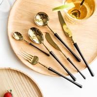 Lekoch 4pcs Good Mirror Cutlery 18/8 Stainless Steel Black Dining Knive Forks Dinnerware Sets Golden Restaurant Tableware Set