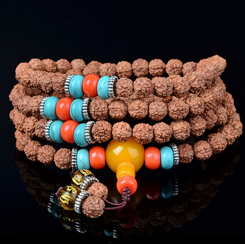 Unique Tibetan 108 Japamala Rudraksha Bracelet For Women Yoga Jewelry Buddhist Mala Beads Necklace Men Casual
