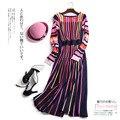 Mulheres Primavera Outono Top Fashion de Manga Longa Doce Colorido Listrado Vestido de Malha Elástica de Alta Qualidade Runway Vestidos De Malha