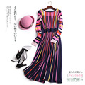 Women Autumn Spring Top Fashion Long Sleeve Sweet Colorful Striped Knitted Dress High Quality Elastic Runway Knit Dresses