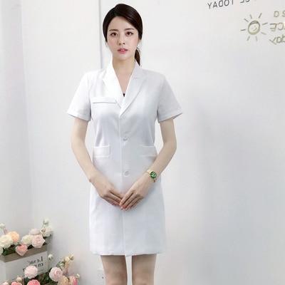 New summer Korean plastic surgeon uniform long white coat short sleeve beauty salon tattoo artist dental uniform