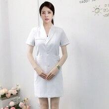 Новый летний корейский пластический хирург униформу длинный белый пальто с коротким рукавом салон красоты татуировки стоматологический