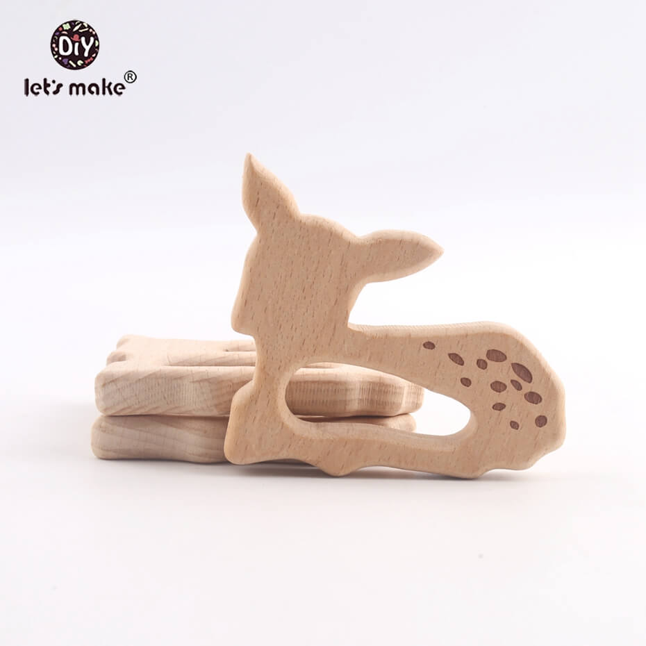 Let's Make Baby Teether Natural Wooden Shape Animals Teether Toy 20PC Unfinished Animal Beads Baby Safe Sensory Grasping Toy