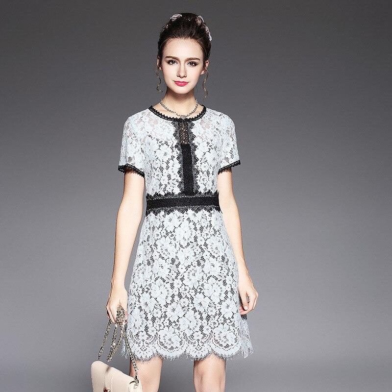Nouveau 2017 été femmes grande taille élégante dentelle robe juniors mignon robe cultivant femme robe de soirée vestidos tunique l-XXXXXL5591