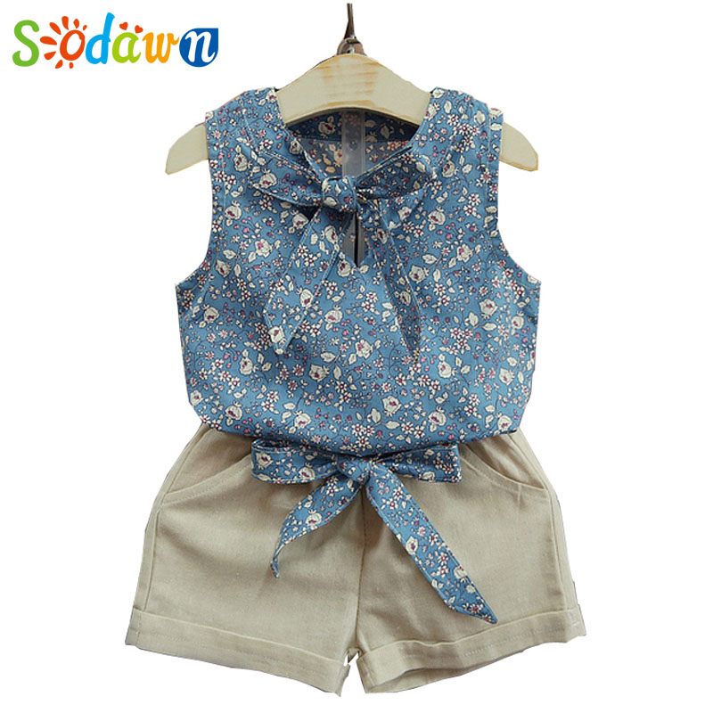 цены  Sodawn Baby Girl Clothes Fashion Cartoon Girls Summer Set Clothes Baby Suits Kids T Shirt +Pants Children Clothing Set