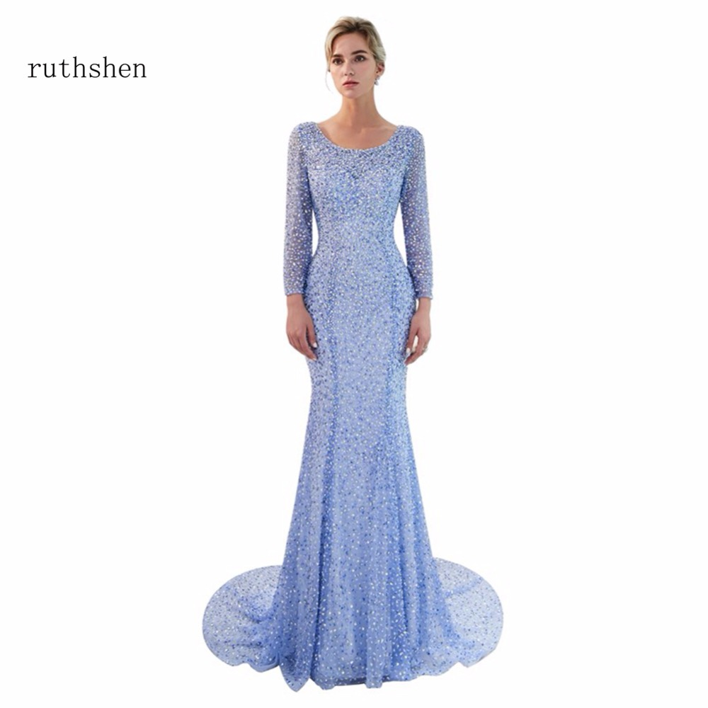 ruthshen Long Princess   Evening     Dresses   2018 Real Photo Beading Mermaid Formal   Dresses   Prom Gowns Full Sleeves Cheap Events 2018