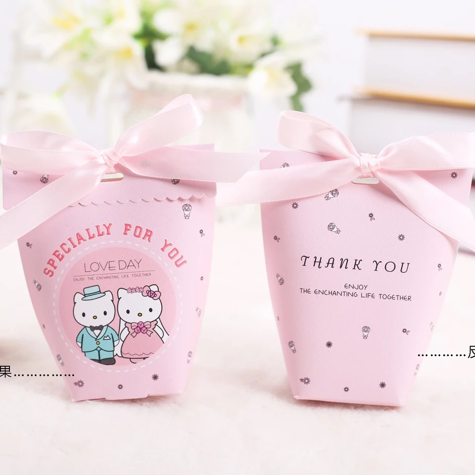 50pcs New pink cat couple Candy Boxes Bomboniere Engagement Party ...
