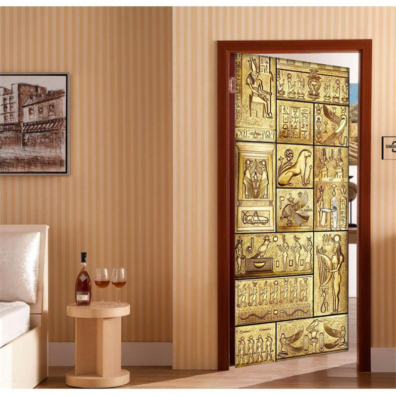 Door Wallpaper Egyptian Word Animal 3D Murals Wallpaper Background Living Room Bedroom Glass Sticker Self Adhesive Wall Painting 3d wood man football background 3d wallpaper murals living room bedroom study paper 3d wallpaper