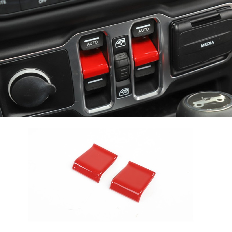 2 Pieces / Set ABS Button Cover Cap Sticker Suitable For Jeep Wrangler JL 2018 2019 Car Styling Accessories