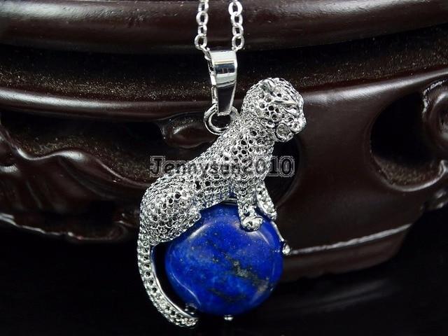 Natural Lapis Lazuli Round Gems Stone Leopard Reiki Chakra Pendant Charm  Beads Healing Jewelry Design 10Pcs 08d376089405