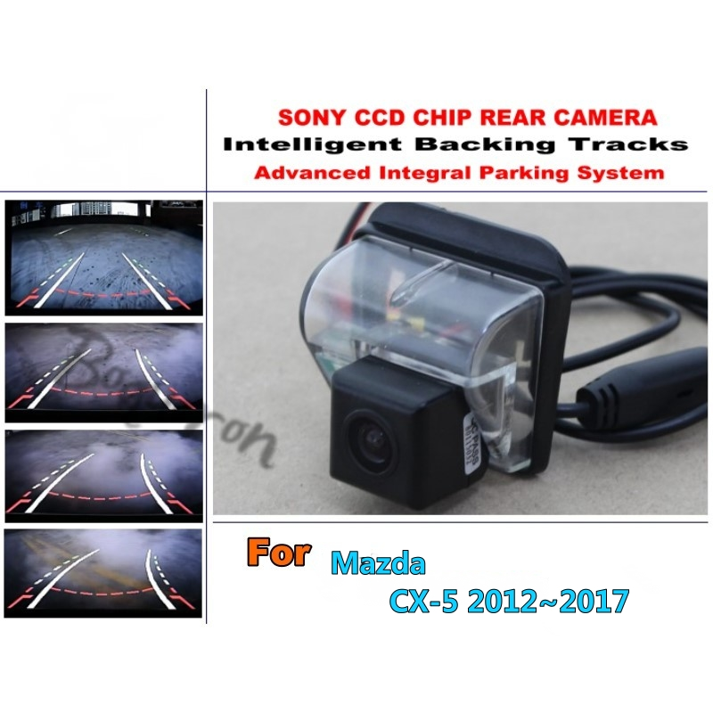 For Mazda CX-5 CX 5 CX5 2012~2017 CCD Night Vision / Intelligent Car Parking Camera with Tracks Module Rear Camera for mazda cx 3 cx 3 cx3 2014 2015 smart tracks chip camera hd ccd intelligent dynamic parking car rear view camera