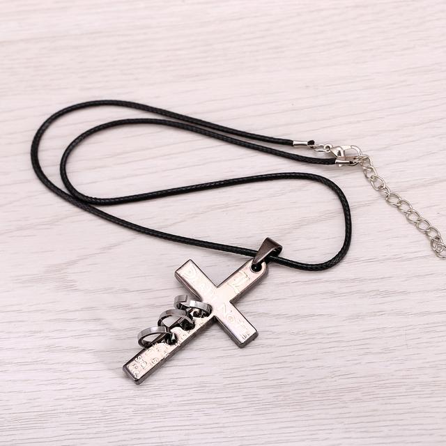 Death Note Black Gold Metal Necklace Cross Logo Pendant