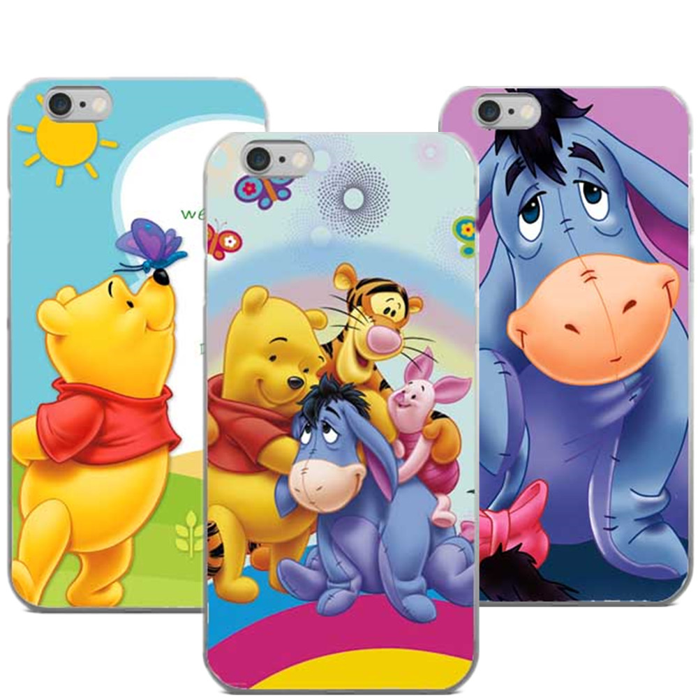 The Winnie Pooh Cartoon Naughty Lovely Eeyore PC Mobile Phone Cases For iPhone 5 5S SE 6 6SPlus 7 7 Plus 8 8Plus X 10 Cover