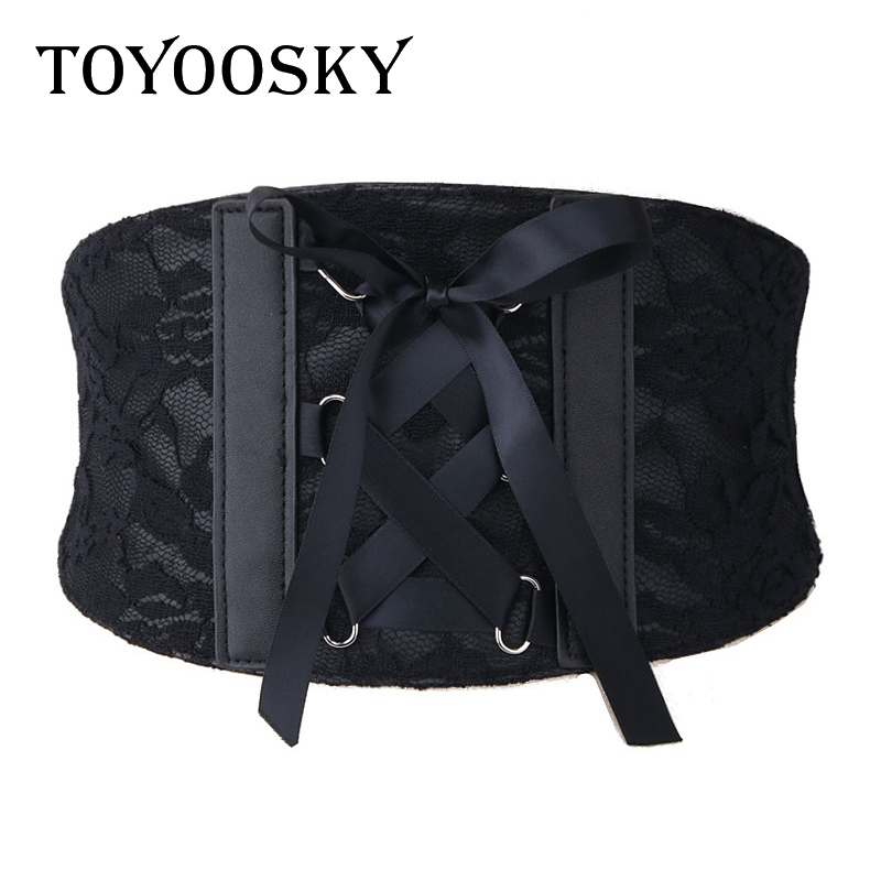 2018 TOYOOSKY Women Belt For Black Lace Bow Bandage Wide Waistband For Dress Faux Leather Fashion Slimming Women Elegant Belt in Women 39 s Belts from Apparel Accessories