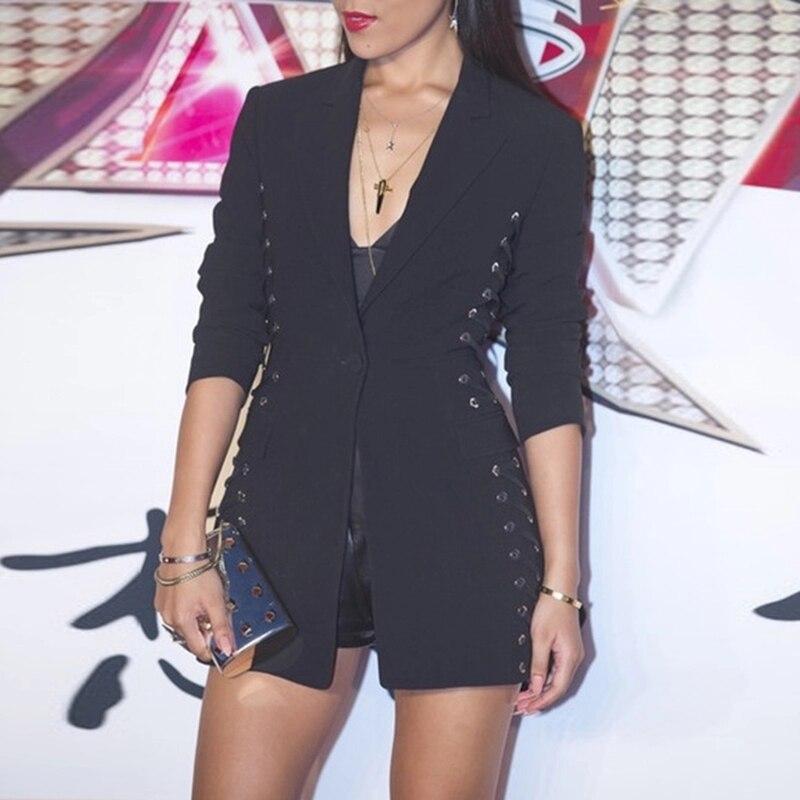 2019 Newest Designer Blazer Women s Long Sleeve Notched Neck Stylish Rope Lacing Up Blazer Jacket