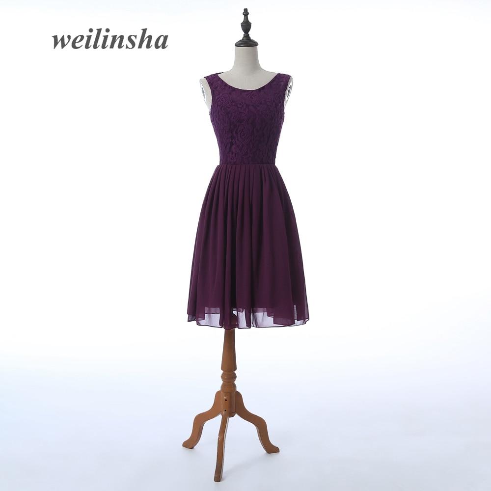 weilinsha 2017 Chiffon   Bridesmaid     Dresses   Sleeveless Beach Knee-length Wedding Party   Dress   Short Lace Simple   Dress