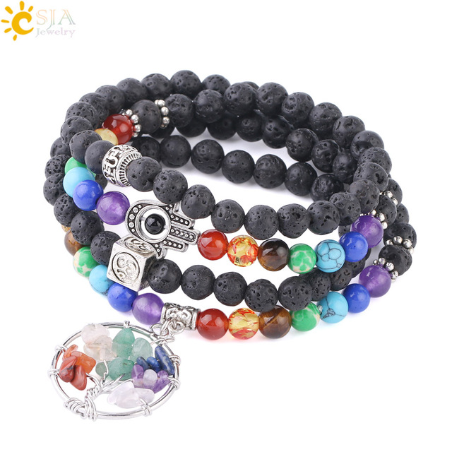 6da2bbc872065 CSJA Multi-layer Bracelets for Men Natural Lava Stone 108 Mala Chakra Beads  Yoga 3D Hamsa Hand Tree of Life Charms Bracelet F709