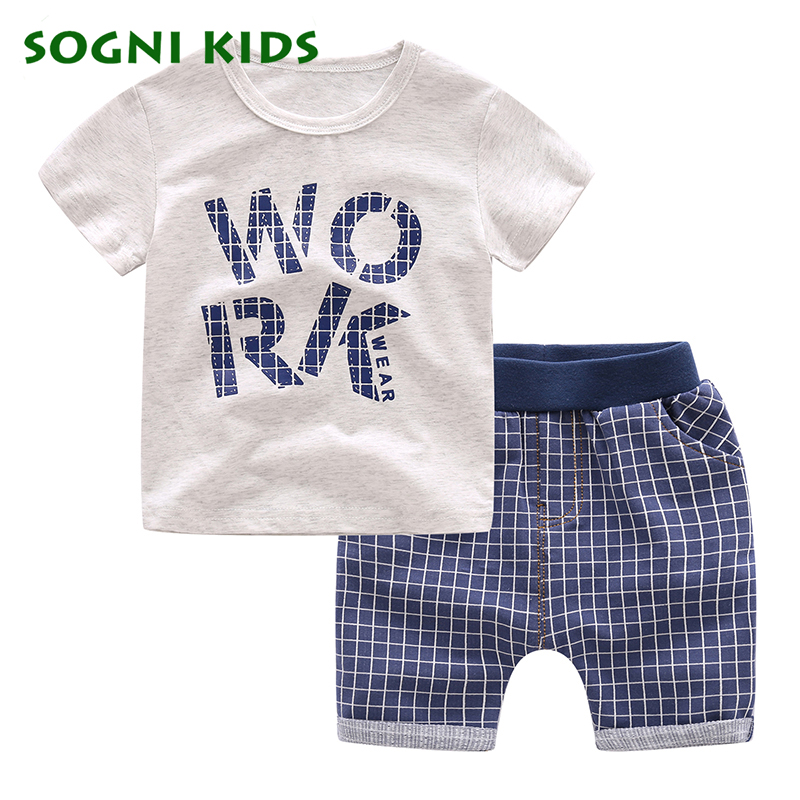 SOGNI KIDS children clothes boys clothing sets 2017 summer sports suit boys tracksuits short sleeves Printing T-shirt +shorts