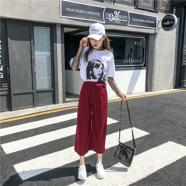 19 Women Casual Loose Wide Leg Pant Womens Elegant Fashion Preppy Style Trousers Female Pure Color Females New Palazzo Pants 62