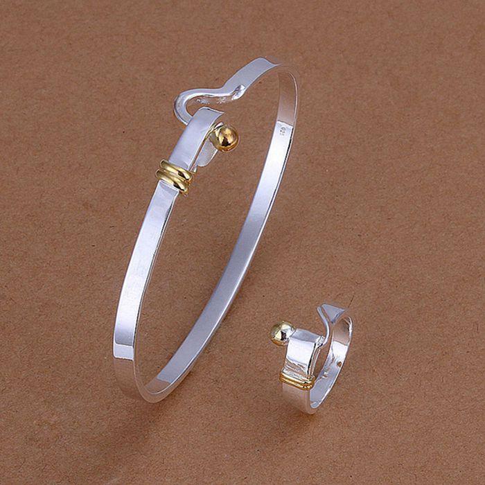 925 sidabrinių papuošalų rinkinys, 925 papuošalų, sidabruotas, papuošalų komplektas, žiedas Bangle S279 / coualgba czralqya LKNSPCS279