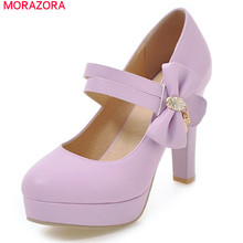 MORAZORA جديد وصول 2020 جولة اصبع القدم مضخات النساء أحذية مع فراشة عقدة هوك حلقة المتطرفة عالية الكعب منصة حذاء